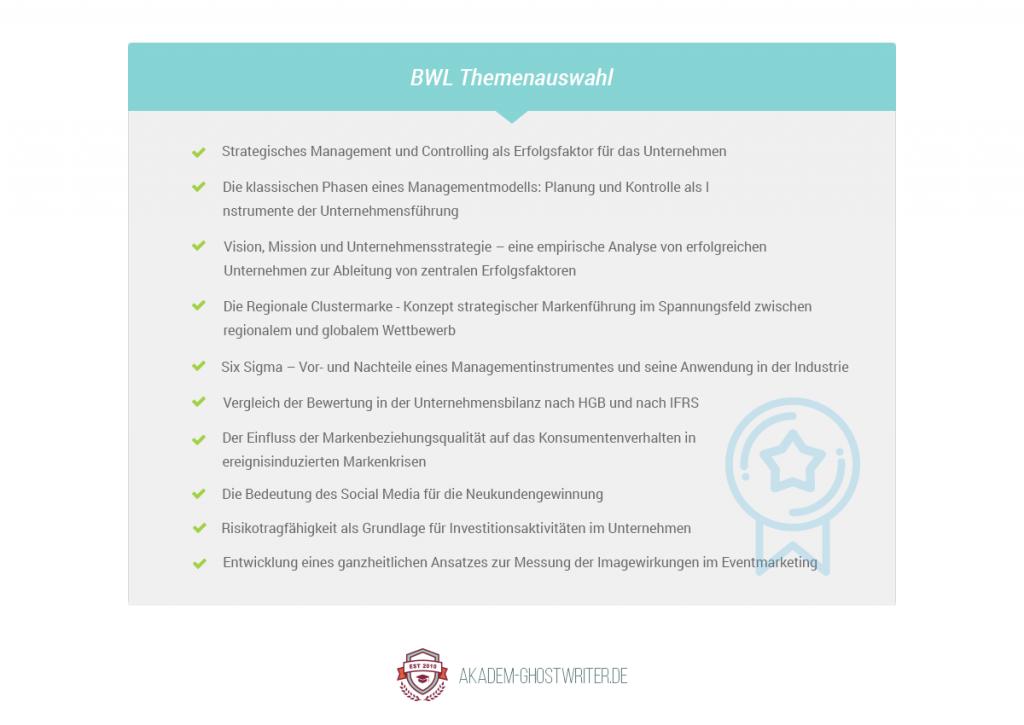Themenliste zur Dissertation im Bereich BWL. Akadem-Ghostwriter.de