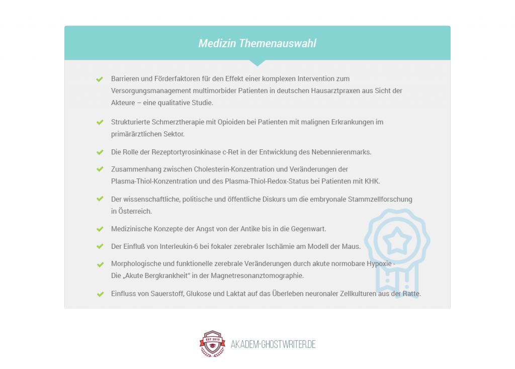 Themenliste zur Dissertation im Bereich Medizin. Akadem-Ghostwriter.de