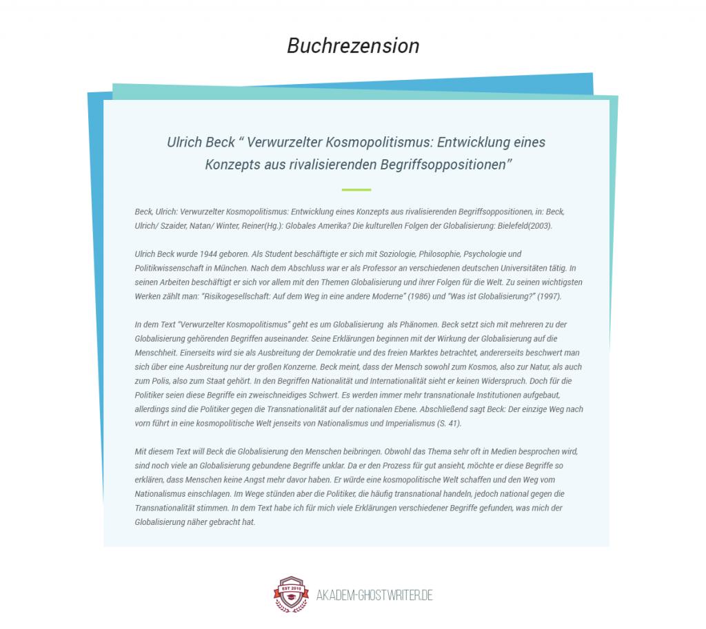 """Buchrezension. Ulrich Beck """" Verwurzelter Kosmopolitismus: Entwicklung eines Konzepts aus rivalisierenden Begriffsoppositionen"""". Akadem-Ghostwriter.de"""